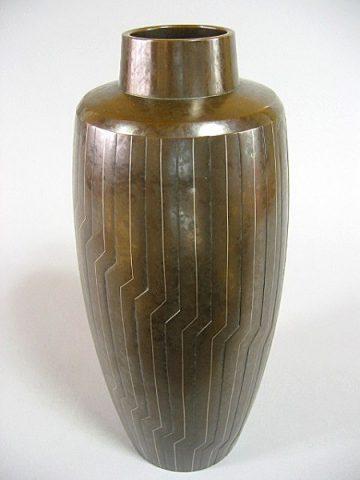 井波慶州作 鋳銅金銀象嵌花器