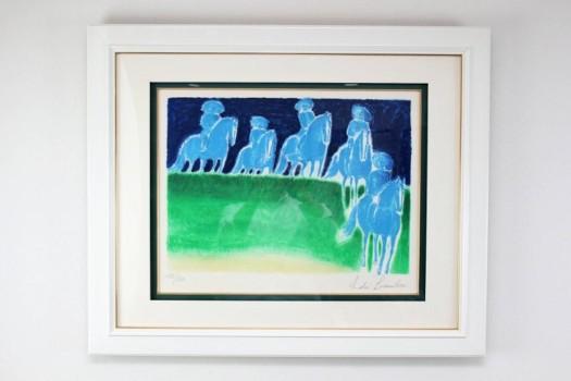 アンドレ・ブラジリエ「草原の乗馬」リトグラフ ED130・マージンに直筆サイン