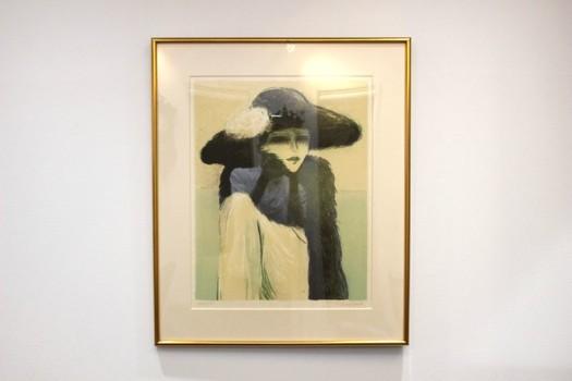 ジャン=ピエール・カシニョール 和紙刷リトグラフ「毛皮をまとう女」