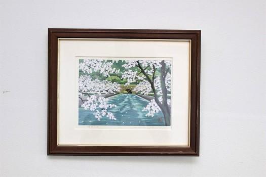 井堂雅夫 手彩色木版画「疎水の桜」