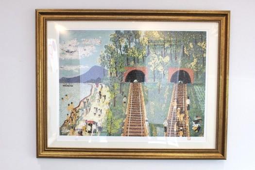 山下清 リトグラフ「トンネルのある風景」300部 エンボス印章