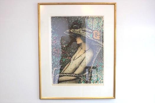 ジャン=ピエール・カシニョール リトグラフ「公園の婦人のプロフィール」