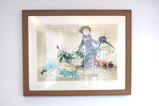 ジャン・ジャンセン 鉛筆サイン入り120部限定リトグラフ「青いリボンの帽子と人形」