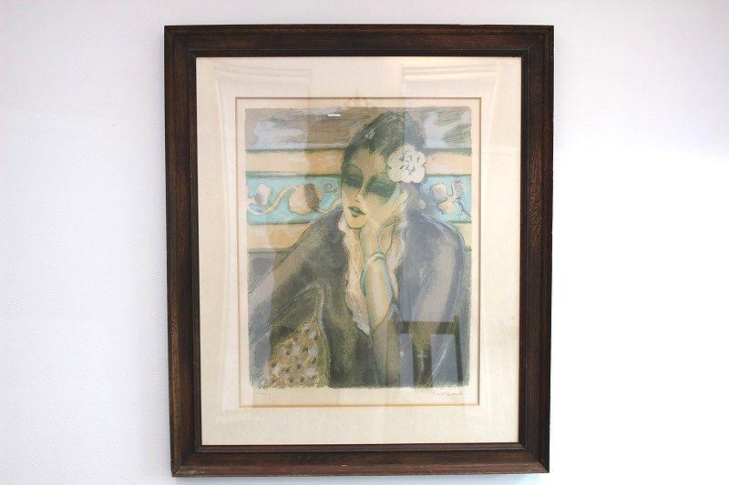 ジャン=ピエール・カシニョール リトグラフ「灰色のドレスの婦人」
