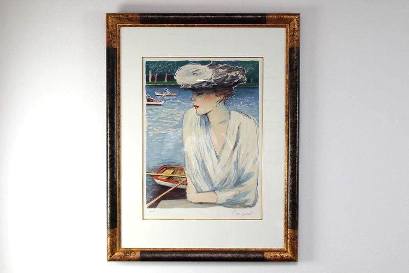 ジャン・ピェール・カシニョール・額装リトグラフ「春の小船」E.A版