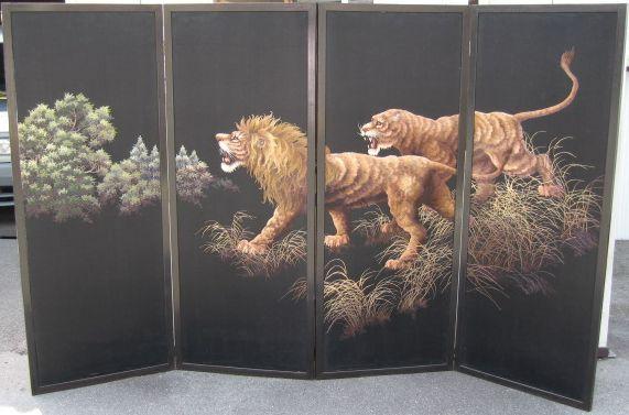 刺繍獅子図 六曲一隻屏風