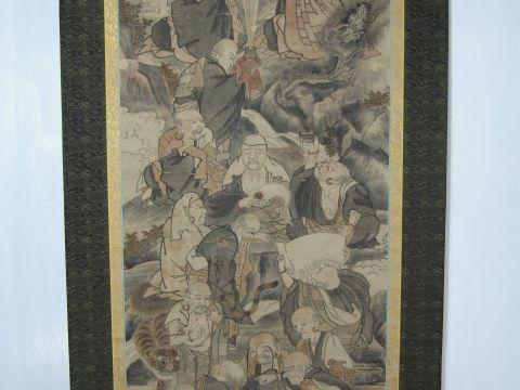 十六羅漢図 掛軸