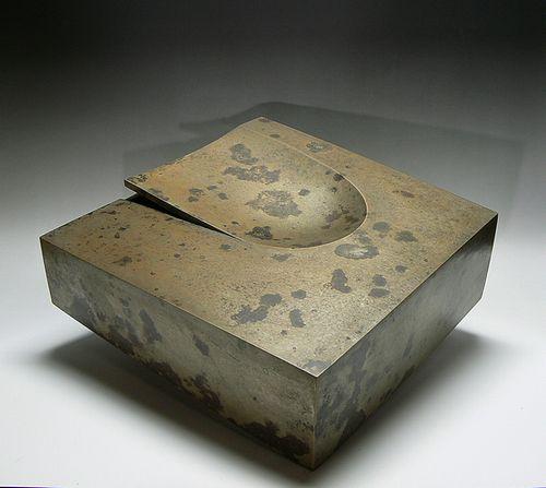 河原孝博作 白銅花器オブジェ