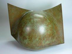 現代工芸家 水牧憲治作 鋳銅オブジェ 『誅』