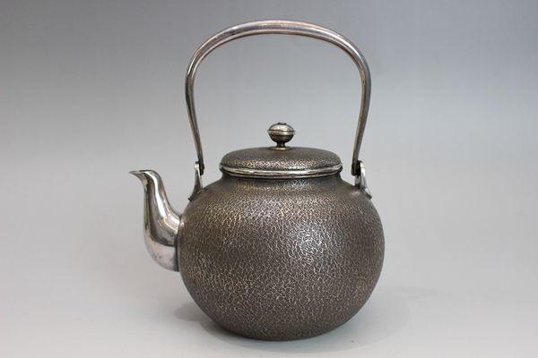 宮本製 南鐐梨地湯沸(銀瓶)