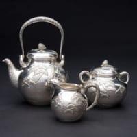 純銀茶器セット(銀瓶・ミルクポット・シュガーポット)