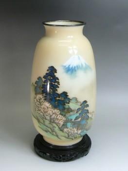 七宝焼 富士に桜の図花瓶