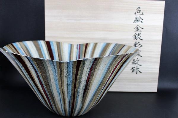 渡辺国夫作 色絵金銀彩線紋鉢