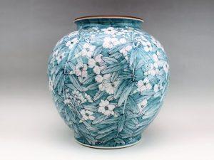 河本礫亭造 染付草花文花瓶